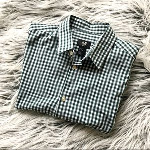 H&M Slim Fit Green Plaid Short Sleeve Button Down